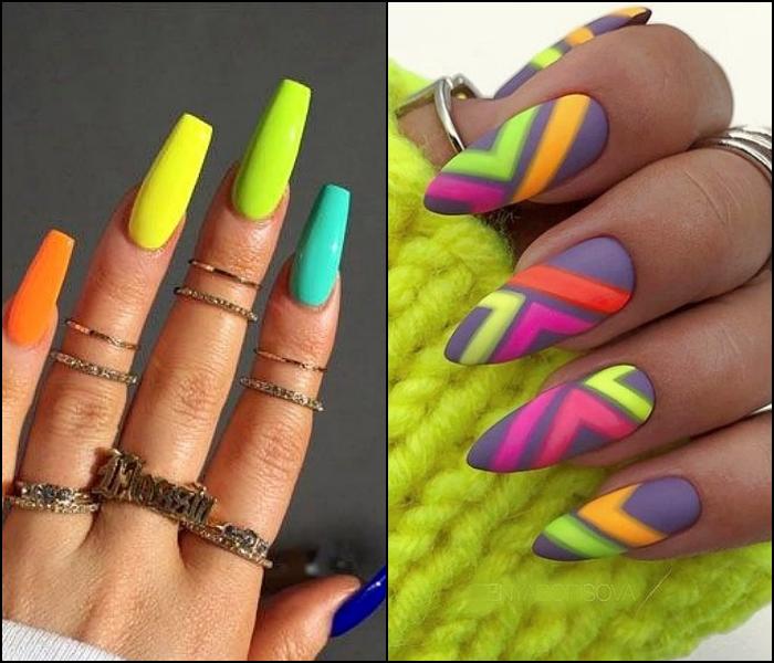 Uñas postizas, manicura en colores azul, naranja, verde, amarillo neón