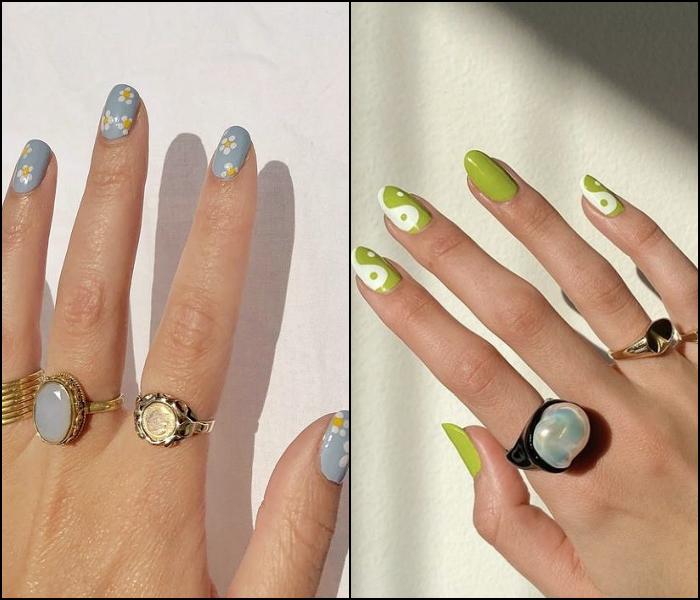 manicura, uñas postizas en color verde claro con diseño simple, minimalista