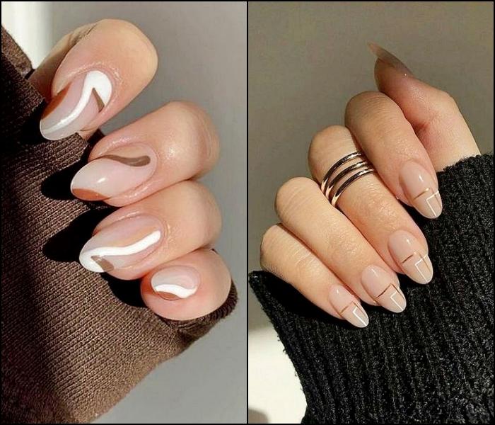 uñas, manicura, postizas con un diseño neutral sencillo en colores pastel gris, blanco, café y beige