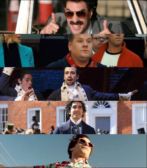 "Sacha Baron Cohen (""Borat Subsequent Moviefilm"")   James Corden (""The Prom"")  Lin-Manuel Miranda (""Hamilton"")   Dev Patel (""The Personal History of David Copperfield"")   Andy Samberg (""Palm Springs"")"