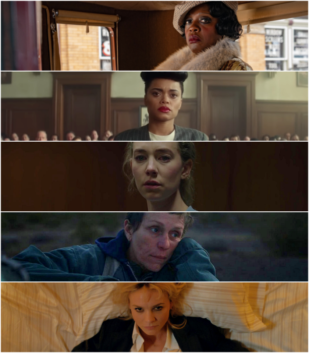 """Viola Davis (""""Ma Rainey's Black Bottom"""")   Andra Day (""""The United States vs. Billie Holiday"""")   Vanessa Kirby (""""Pieces of a Woman"""")   Frances McDormand (""""Nomadland"""")   Carey Mulligan (""""Promising Young Woman"""")"""