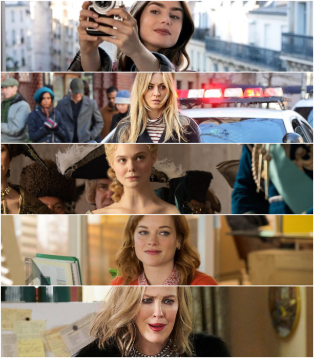 """Lily Collins (""""Emily in Paris"""")  Kaley Cuoco (""""The Flight Attendant"""")   Elle Fanning (""""The Great"""")   Jane Levy (""""Zoey's Extraordinary Playlist"""")   Catherine O'Hara (""""Schitt's Creek"""")"""