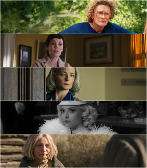 "Glenn Close (""Hillbilly Elegy"")   Olivia Colman (""The Father"")   Jodie Foster (""The Mauritanian"")  Amanda Seyfried (""Mank"")   Helena Zengel (""News of the World"")"