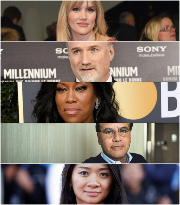 """Emerald Fennell, """"Promising Young Woman"""" (Focus Features)  David Fincher, """"Mank"""" (Netflix)   Regina King, """"One Night in Miami"""" (Amazon Studios)   Aaron Sorkin, """"The Trial of the Chicago 7"""" (Netflix)   Chloé Zhao, """"Nomadland"""" (Searchlight Pictures)"""
