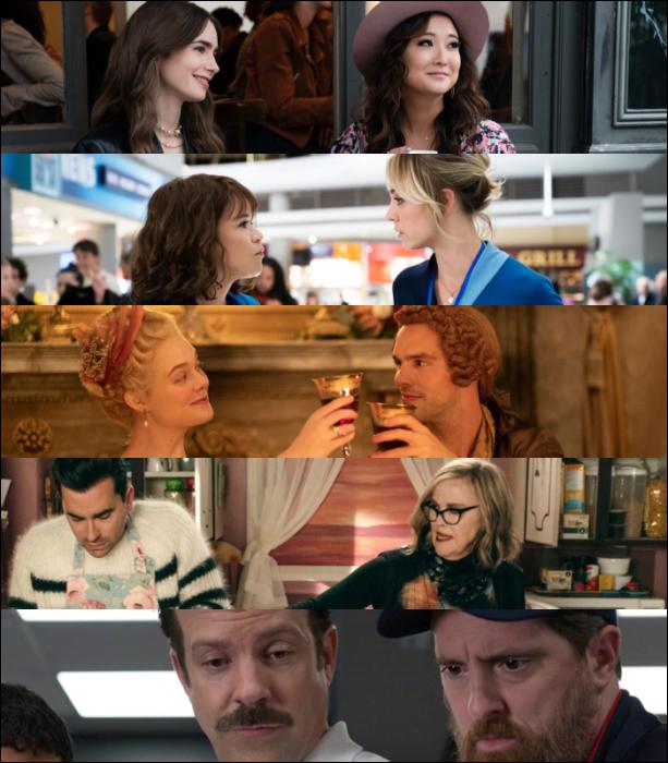 """Emily in Paris"" (Netflix)  ""The Flight Attendant"" (HBO Max)  ""The Great"" (Hulu)   ""Schitt's Creek"" (CBC)   ""Ted Lasso"" (Apple TV Plus)"
