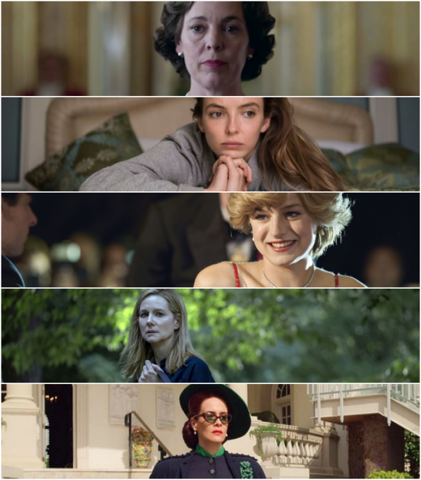 """Olivia Colman (""""The Crown"""")   Jodie Comer (""""Killing Eve"""")  Emma Corrin (""""The Crown"""")   Laura Linney (""""Ozark"""")   Sarah Paulson (""""Ratched"""")"""