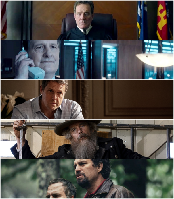 """Bryan Cranston (""""Your Honor"""")  Jeff Daniels (""""The Comey Rule"""")   Hugh Grant (""""The Undoing"""")   Ethan Hawke (""""The Good Lord Bird"""")   Mark Ruffalo (""""I Know This Much Is True"""")"""