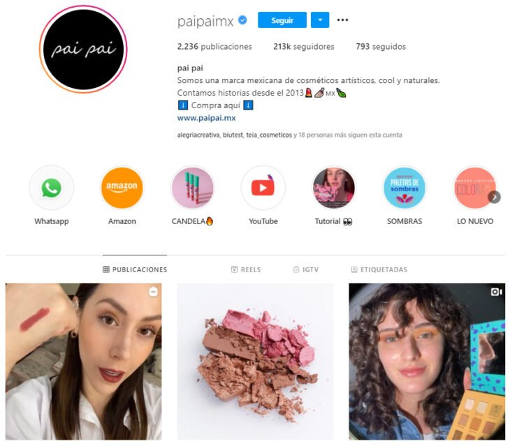 Instagram profile of pai pai, Mexican brand of beauty products