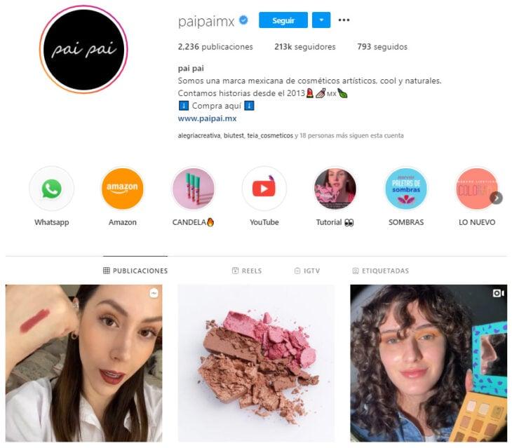 Perfil de Instagram de pai pai, marca mexicana de productos de belleza