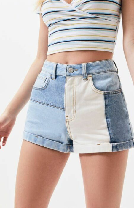 girl wearing short shorts in white and blue tones