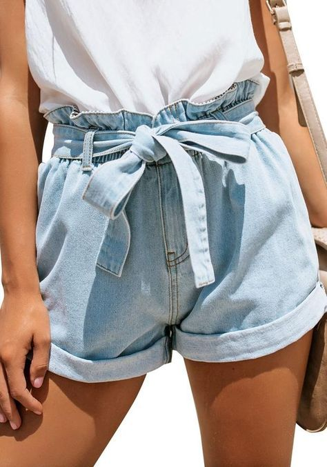 girl wearing short shorts with bow in front