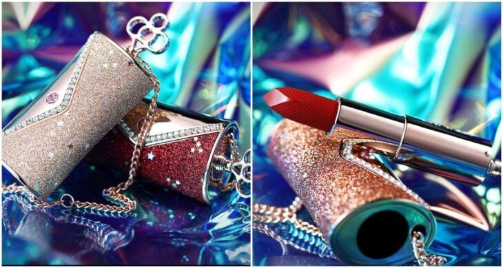 Labial en forma de bolso con diamantes; 12 Labiales bonitos que merecen tener un espacio en tu tocador