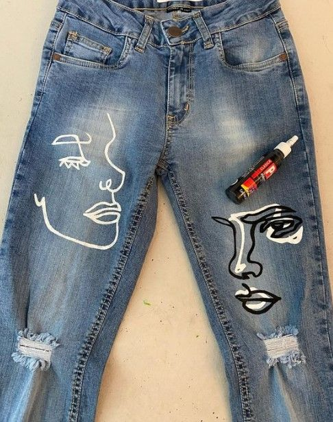 Ripped jeans decorated with half-expensive paintings; ; 13 ways to save your ripped jeans and stay in style