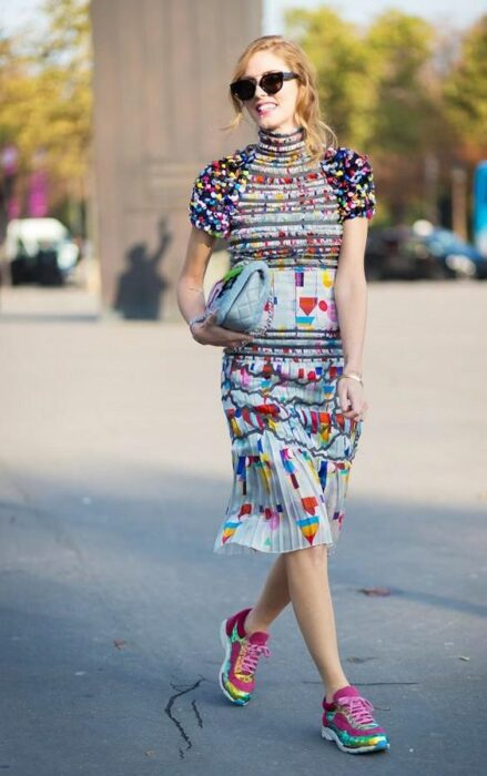 Girl in colorful dresses and matching tennis shoes; 13 Outfits with neon tennis shoes to dazzle at every step