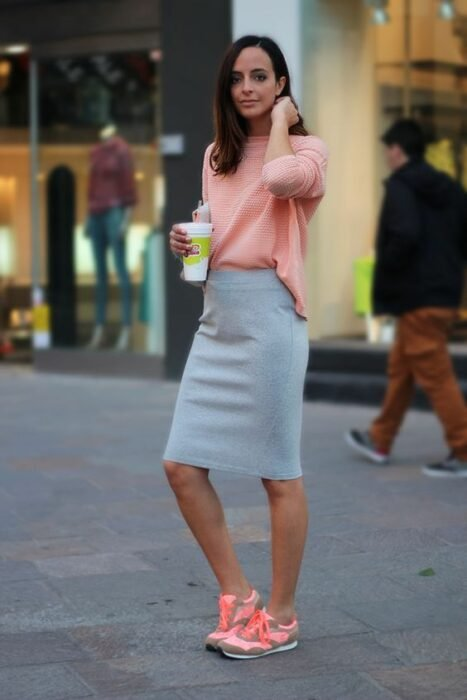 girl in light gray pencil skirts with fluorescent tennis shoes; 13 Outfits with neon tennis shoes to dazzle at every step