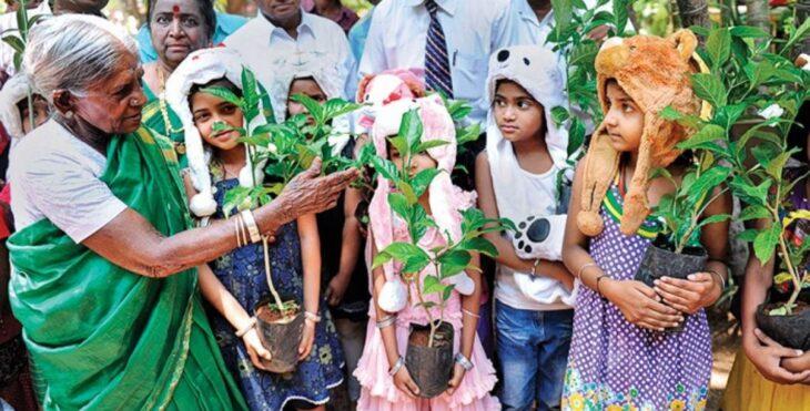 Saalumarada Thimmakka entrehando árboles a niños de la India