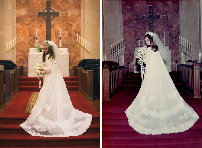 Mujer recreando las fotos del día de su boda