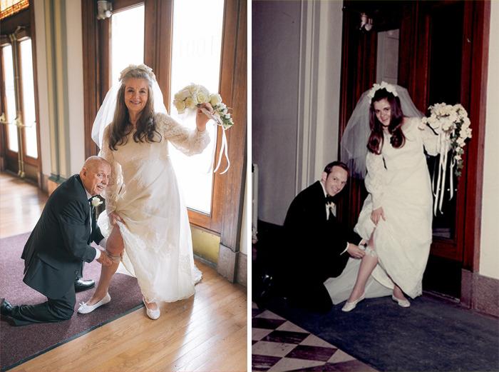 Pareja de abuelitos recreando las fotos del día de su boda