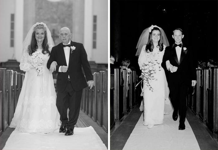 Pareja de abuelitos caminando juntos por el altar y recreando las fotos de su boda