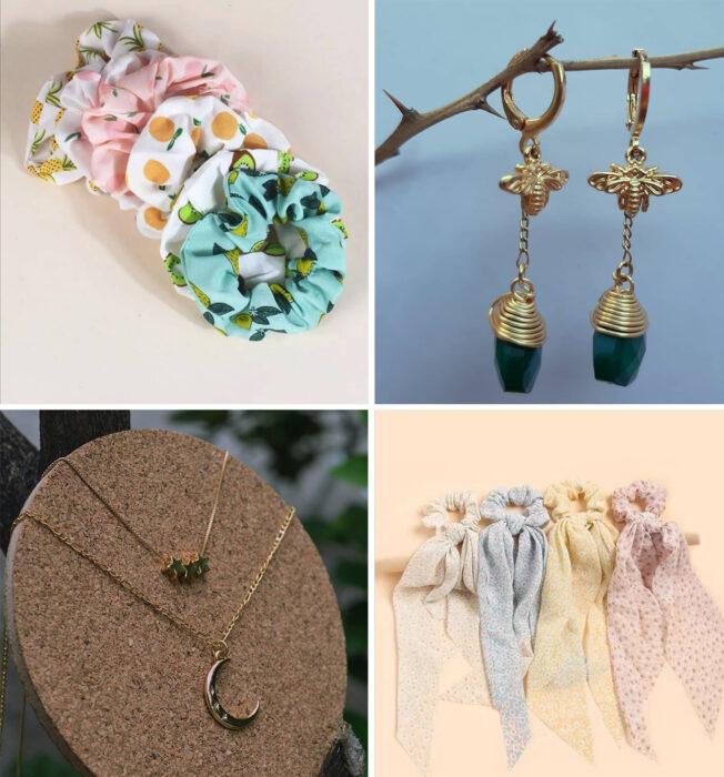 Collage de accesorios para el cabello y joyería