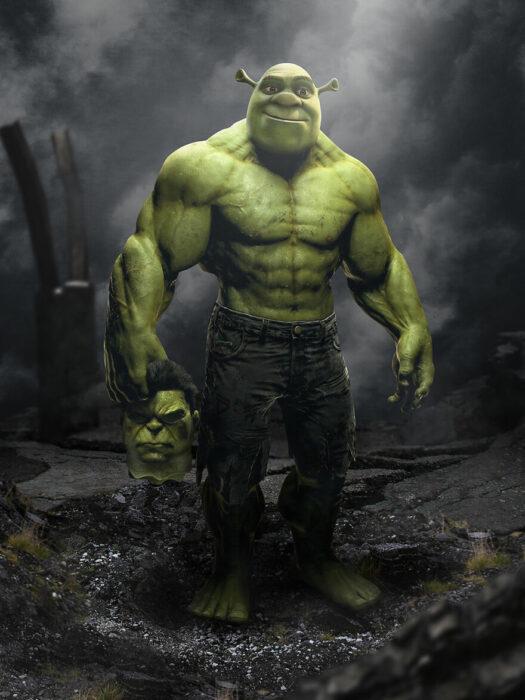 Arte digital de Sandevil mezclando a Shrek y Hulk