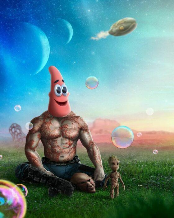 Arte digital de Sandevil mezclando a Drax y Patricio estrella