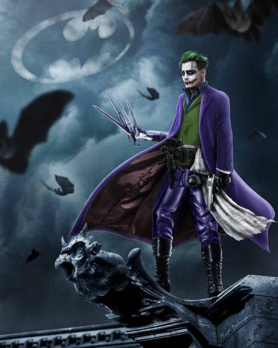 Arte digital de Sandevil mezclando a El hombre manos de tijera y Joker