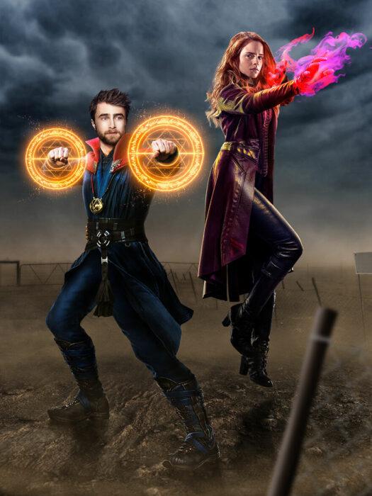 Arte digital de Sandevil mezclando a Harry Potter y Hermione con Dr. Strange y Wanda Maximoff