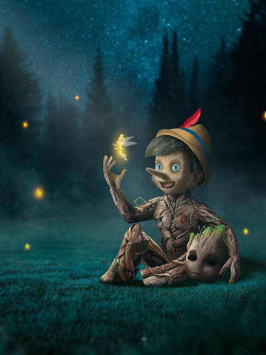 Arte digital de Sandevil mezclando a Pinocho y Grut