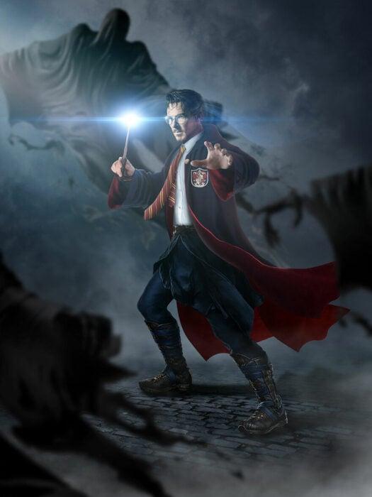 Arte digital de Sandevil mezclando a Dr. Strange y Harry Potter