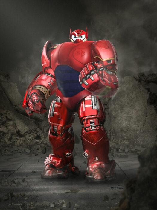 Arte digital de Sandevil mezclando a Baymax y Iron Man