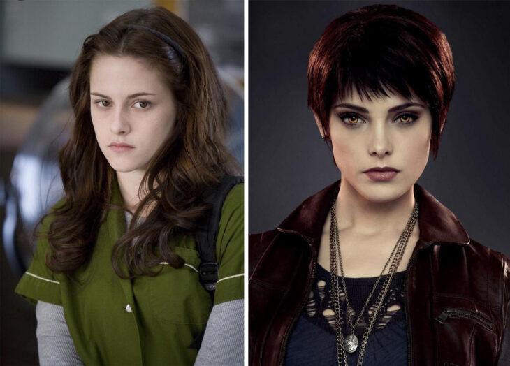 Del lado izquierdo Bella Swan de 'Crepúsculo', del lado derecho Alice Cullen de 'Crepúsculo'