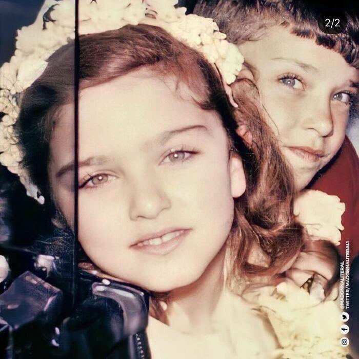 Madonna cuando era una niña posando para una fotografía