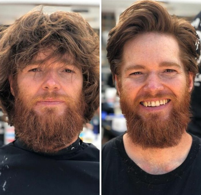Hombre mostrando su antes y después de un corte de cabello y corte de barba