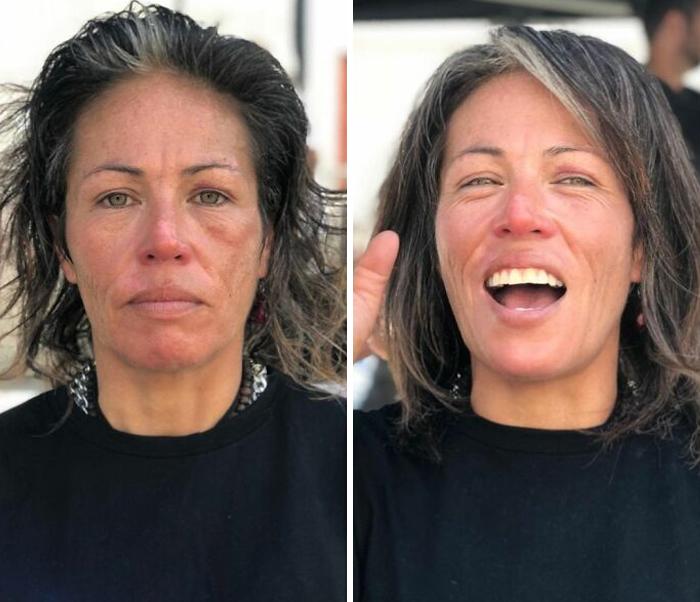Mujer mostrando el antes y después de recibir un corte de cabello en capas