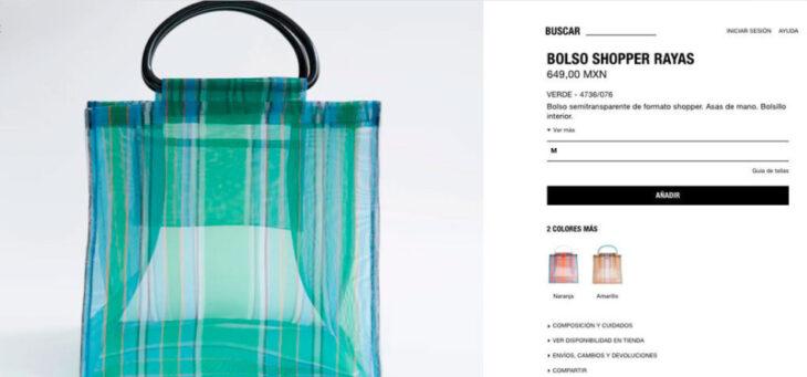 Imagen de catalogo de bolso shopper de Zara