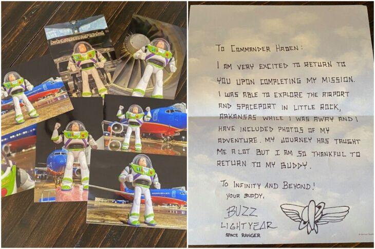 Fotos de muñeco Buzz Lightyear en un viaje; Buzz Lightyear regresa con su pequeño amigo fiel después de extraviarse en un avión
