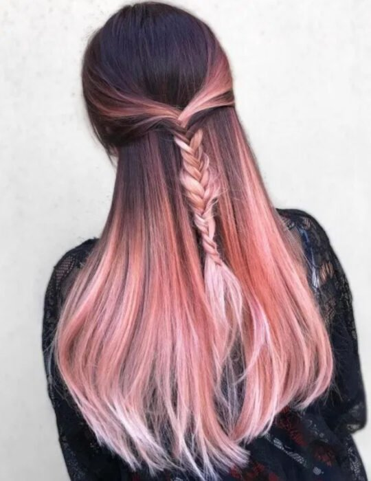 Girl with dark brown hair, straight and with 'Gold Pink Hair' dye