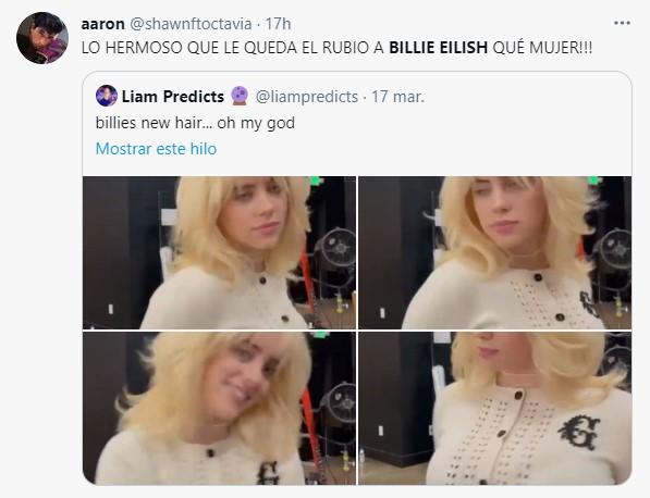Comentarios en Twitter sobre el nuevo color de billie Eilish