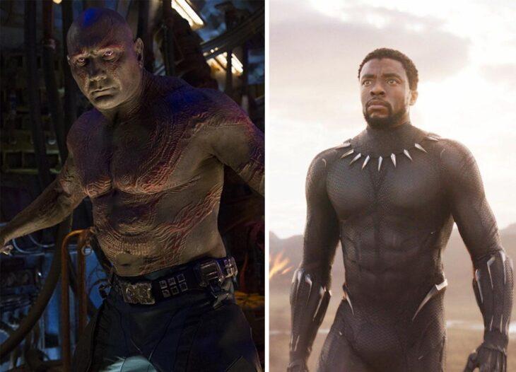 Del lado izquierdo Drax de 'Guardianes de la Galaxia', del lado derecho T'Challa de 'Black Panter'