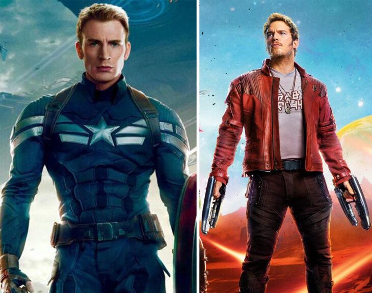 Del lado izquierdo Capitán América, del lado derecho Star Lord de 'Guardianes de la Galaxia'