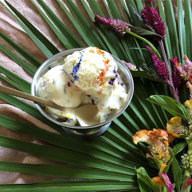 Nieve de vainilla decorada con flores de colores; Crea deliciosa repostería con flores