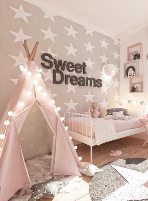Decoración de cuarto en tonos rosados con gris