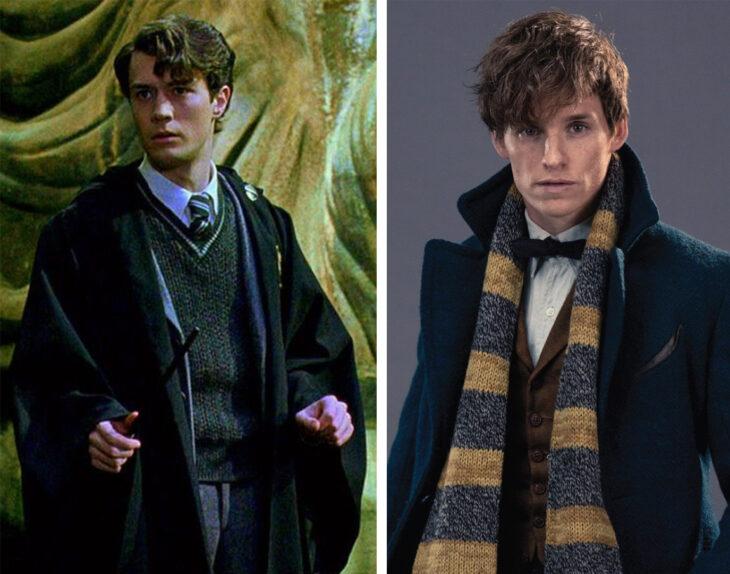 Del lado izquierdo Tom Riddle de 'Harry Potter', del lado derecho Newt Scamander de 'Animales fantásticos y dónde encontrarlos'