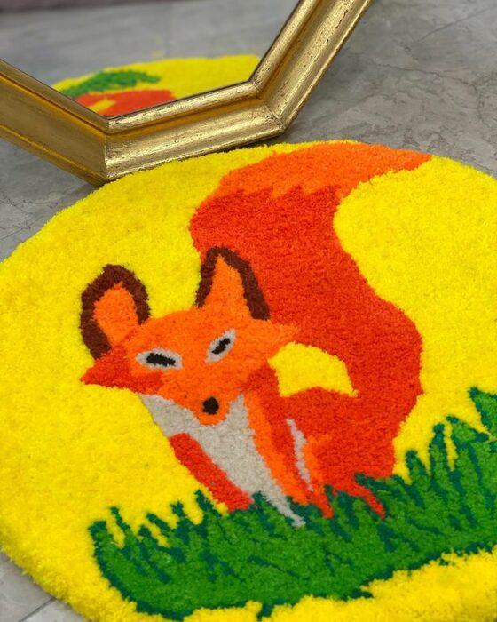 Tapete redondo con decoración de zorro; Este local vende los tapetes más hermosos que verás