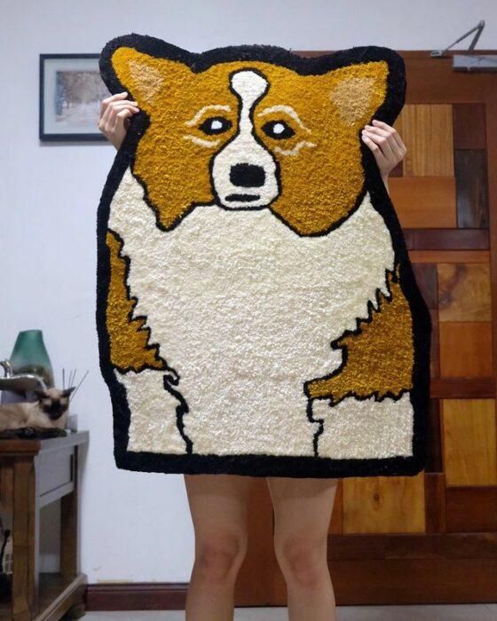 Tapete en forma de perro corgi; Este local vende los tapetes más hermosos que verás