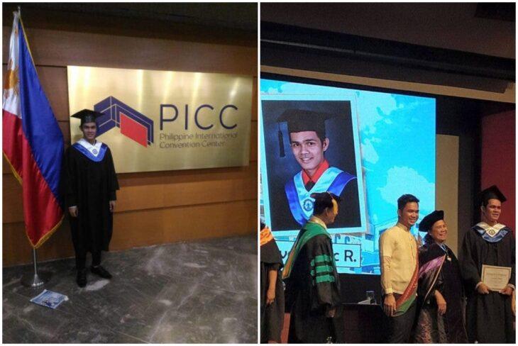 Jeric Rivas, estudiante recibiendo su diploma de graduación; Estudiante llora en su graduación porque su familia no quiso acompañarlo en su gran día