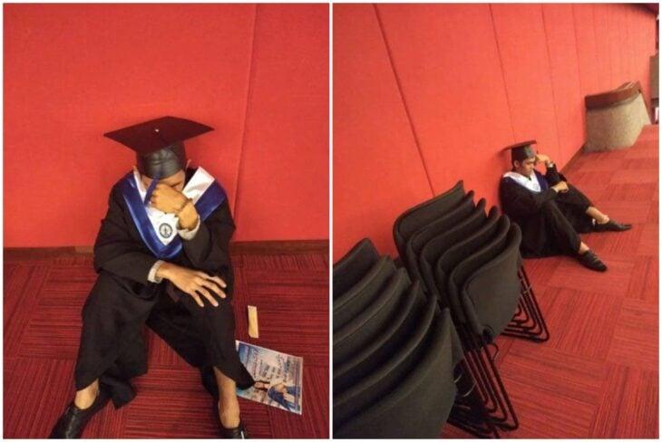 Jeric Rivas , estudiante llevando su toga, llorando durante su graduación por encontrarse solo; Estudiante llora en su graduación porque su familia no quiso acompañarlo en su gran día