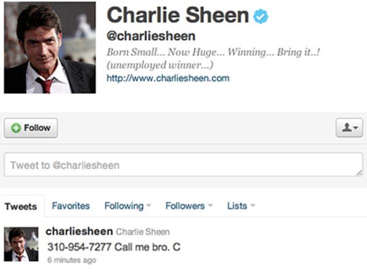 Comentario en twitter de Chalie Sheen con su número de teléfono