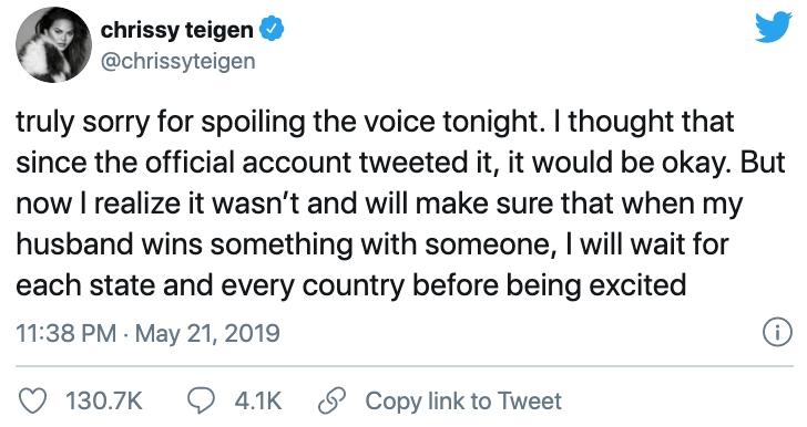 Comentario en twitter de Chrissy Teigen